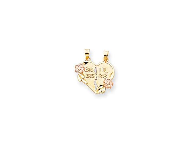 14k Two-tone Break-apart Big Sis and Little Sis Heart Charm