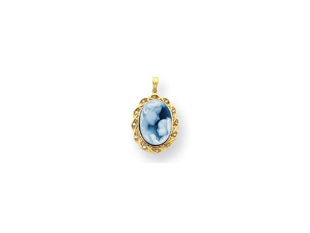 14k Heavens Gift Diamond Cameo w/Sentiment Pendant