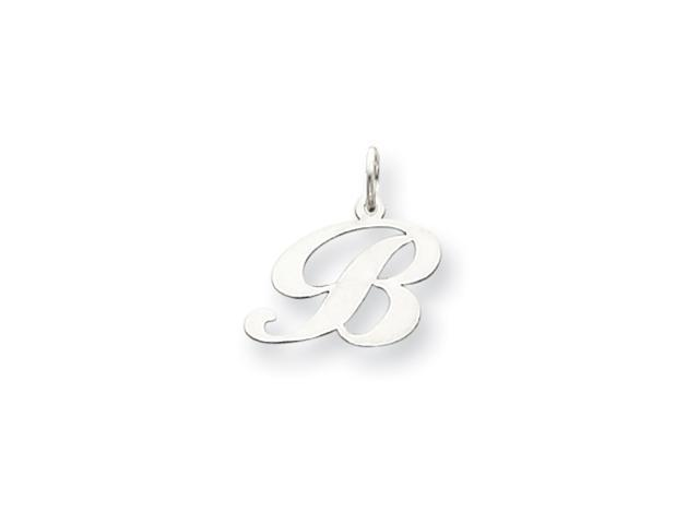14k White Gold Small Fancy Script Initial B Charm