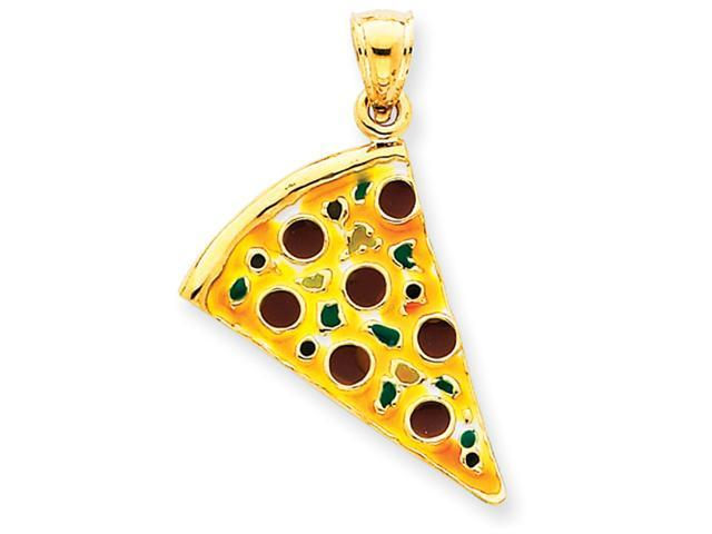 14k Enameled Pepperoni Pizza Slice Pendant