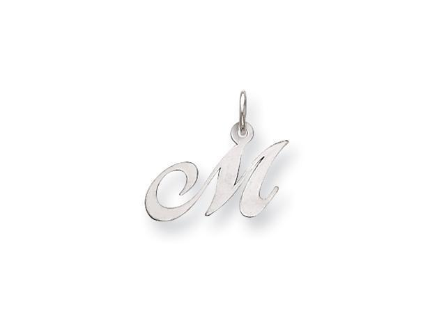 14k White Gold Small Fancy Script Initial M Charm