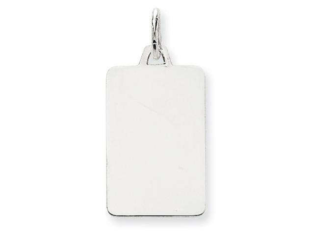 14k White Gold Plain .027 Gauge Rectangular Engraveable  Charm