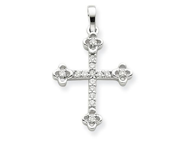 14K White Gold Small Diamond Budded Cross Pendant Diamond quality AA (I1 clarity, G-I color)