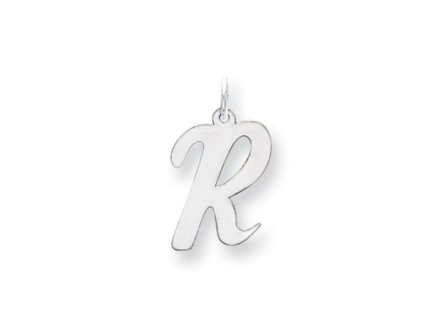 14k White Gold Large Script Initial R Charm