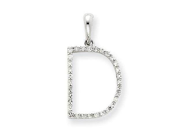 14k White Gold Diamond Initial D Pendant