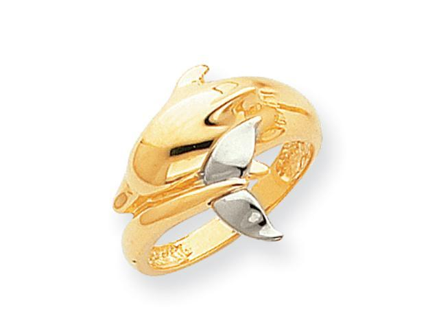 14k Two-tone Polished Dolphin Ring