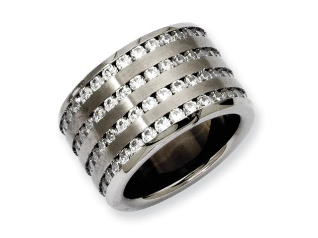 Stainelss Steel Multirow 13mm CZ Ring