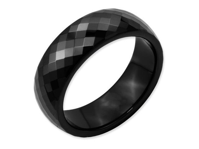 Ceramic Black Faceted 7mm Polished Band