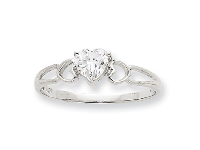 10k White Gold Polished Geniune White Topaz Birthstone Ring