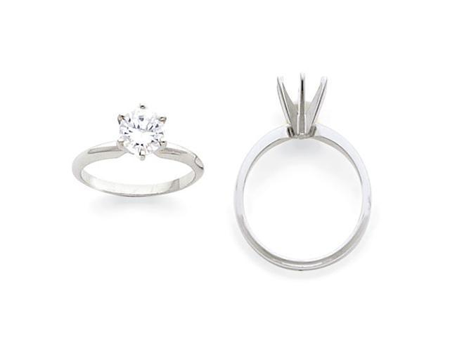14k White Gold 1.5ct. Light-Weight Half-Round 6-Prong Ring Mounting