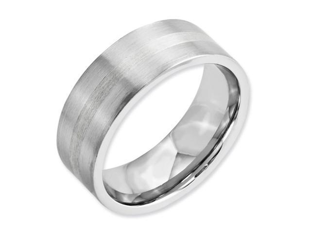 Cobalt Chromium Sterling Silver Inlay Satin 8mm Band