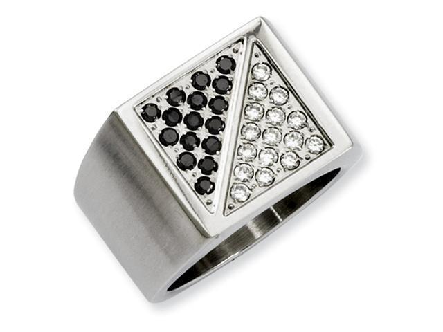 Stainless Steel Black & White Diamond Ring
