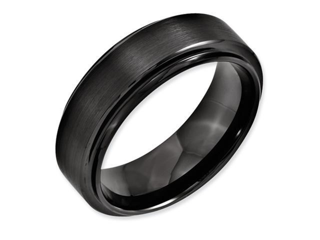 Black Ceramic Ridged Edge 8mm Brushed and Polished Band