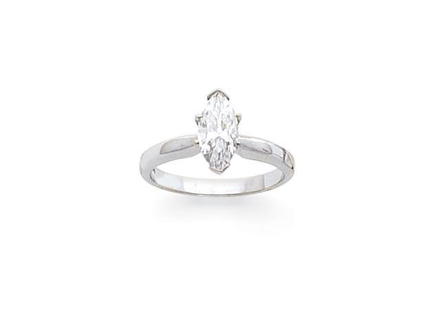 14k White Gold 3/4ct. High-Shoulder Half-Round Marquise Solitaire Mounting