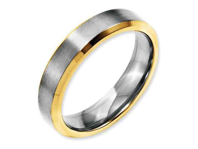 Stainless Steel Beveled Edge 5mm Brushed & Polished Gold-plated Band
