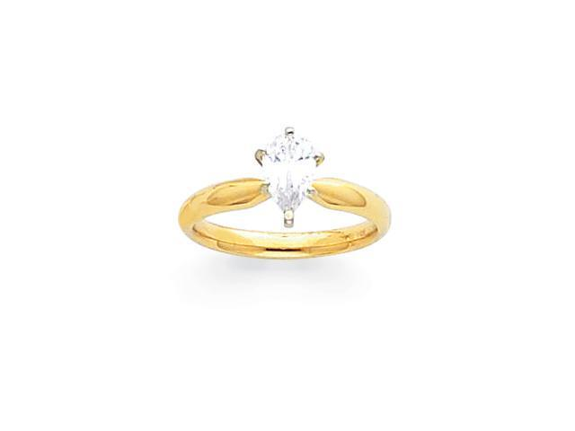 14k Two-Tone 2ct. Tulip Head Comfort-Fit Pear Solitaire Mounting