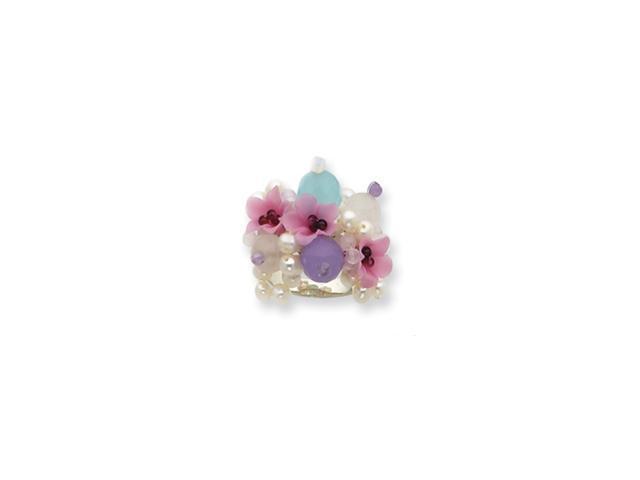 Sterling Silver Cultured Pearl/Lavender Jade/Amazonite/Quartz Ring