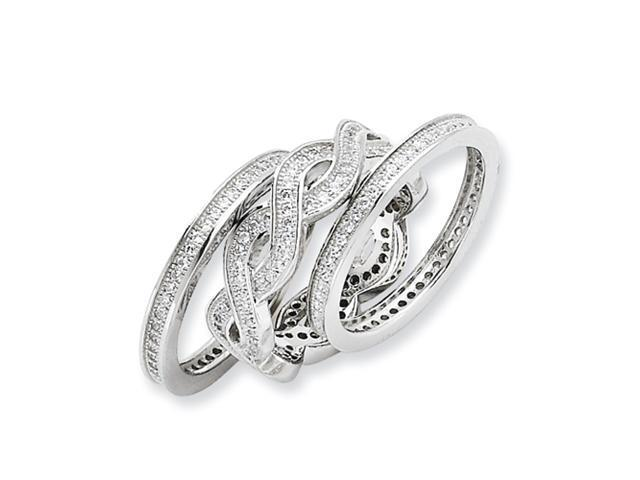 Sterling Silver & CZ 3 Piece Fancy Ring Set