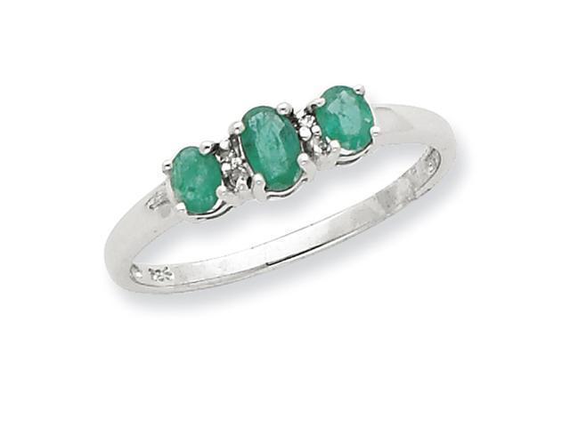 Sterling Silver Rhodium 3 Pear Emerald & Diamond Heart Ring