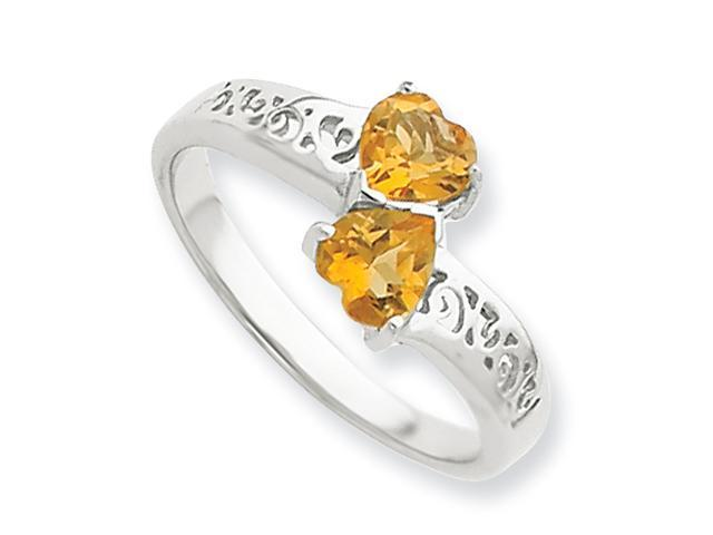 Sterling Silver Rhodium Citrine Heart Ring