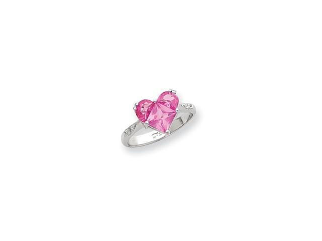 Sterling Silver Heart Shaped Dark Pink CZ Ring
