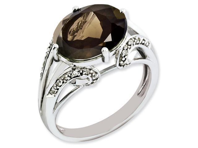 Sterling Silver Oval Diamond & Smokey Quartz Ring