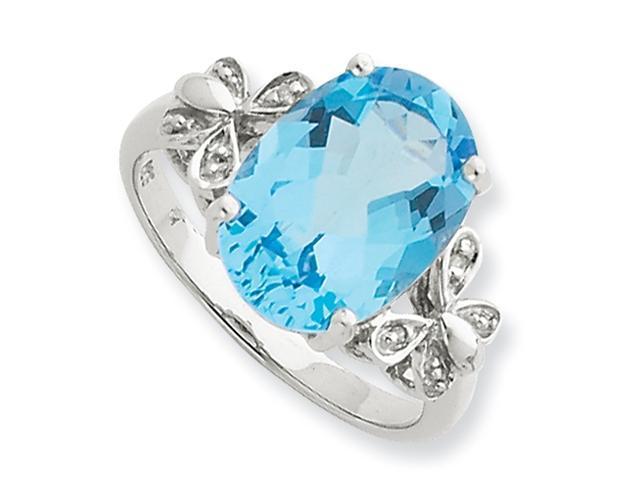 Sterling Silver Rhodium Light Swiss Blue Topaz Diamond Ring