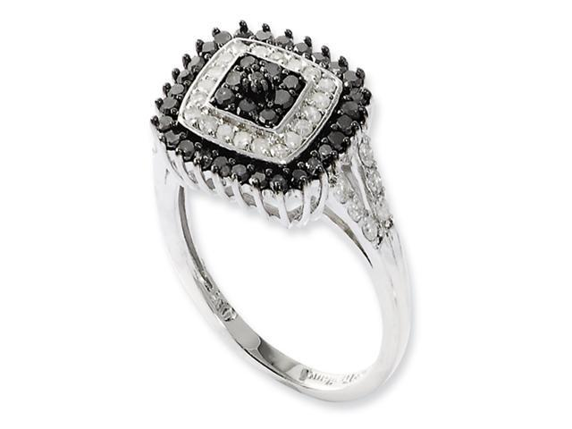 Sterling Silver Black & White Diamond Ring