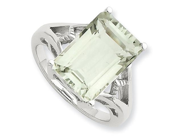 Sterling Silver Rhodium Green Amethyst Ring