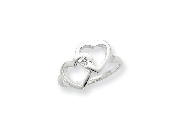 Sterling Silver Diamond accent Intertwined Heart Ring