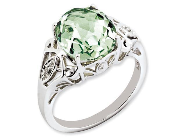 Sterling Silver Oval Green Quartz & Diamond Ring
