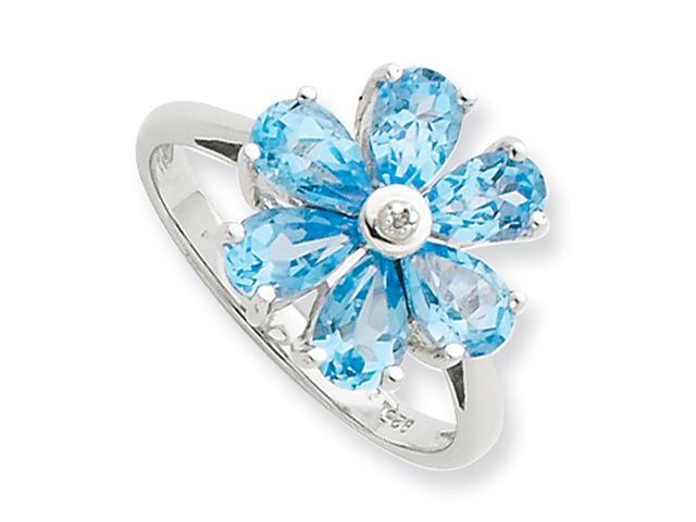 Sterling Silver Rhodium Lt Swiss Blue Topaz & Diamond Flower Ring
