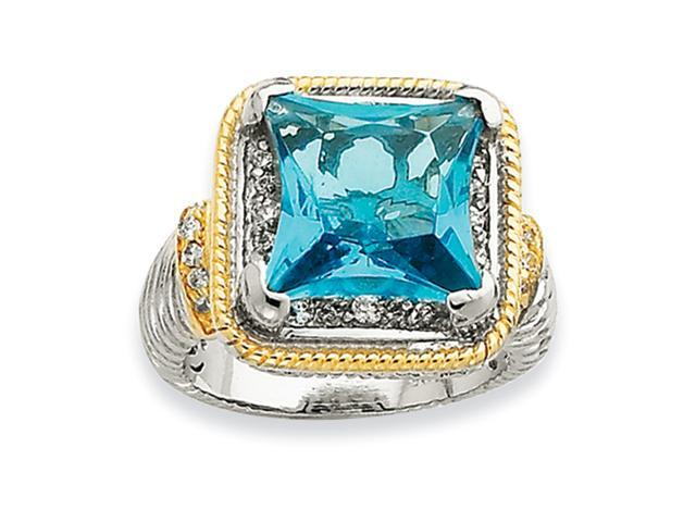 Sterling Silver & Gold-plated Fancy Square Blue CZ Ring