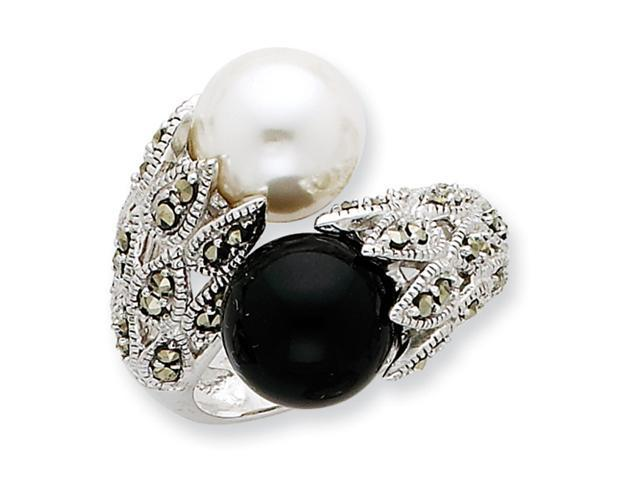 Sterling Silver CZ Black and White Cultured Pearl Ring