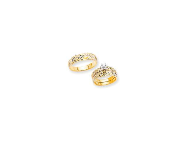 14k AA Quality Trio Mens Wedding Band