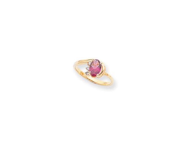 14k Polished .03ct. Diamond & 7x5 Oval Gemstone Ring Mounting