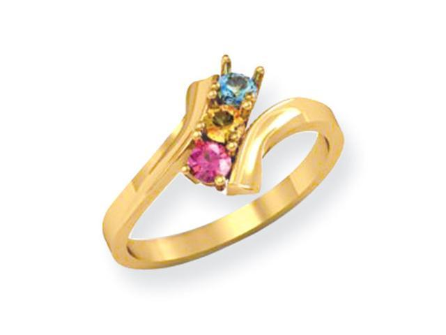 14k Polished 3-Stone Mothers Ring Mounting