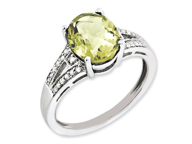 Sterling Silver Diamond & Lemon Quartz Ring