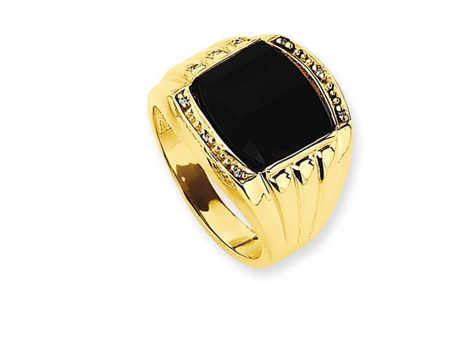 14k Ridged-Sides Mens Diamond and Onyx Ring Mounting