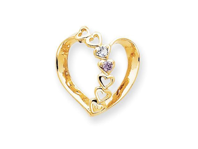 14k Polished 2-Stone Mothers Heart Slide Mounting