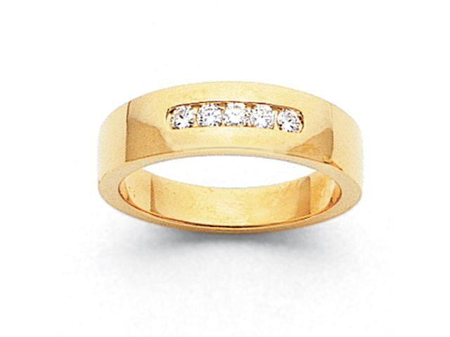 14k Comfort-Fit Tapered 5-Stone Mens Channel Band Mounting