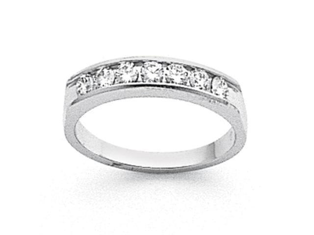 14k White Gold Tapered Milled 7-Stone Channel Band Mounting