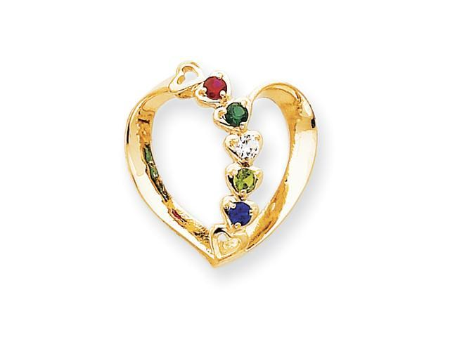 14k Polished 5-Stone Mothers Heart Slide Mounting