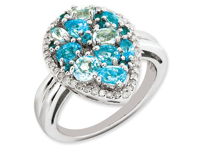 Sterling Silver Light Swiss Blue Topaz & Diamond Ring