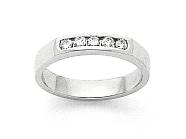 14k White Gold Milled Partial Closed 5-Stone Channel Band Mounting