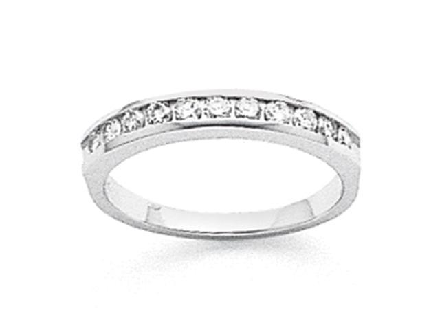 14k White Gold Tapered Milled 11-Stone Channel Band Mounting