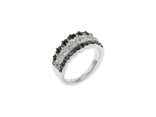 Sterling Silver Black & White Diamond Ring