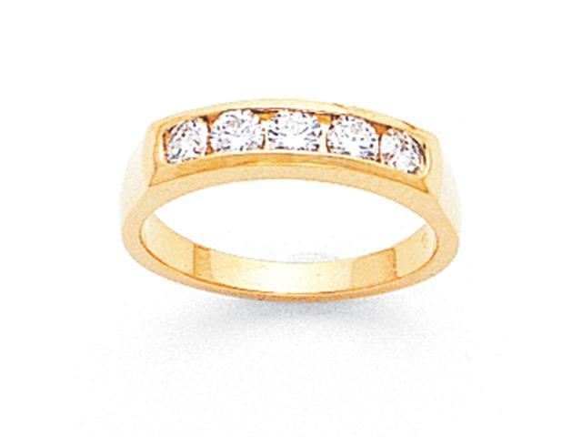 14k Tapered Milled Partial Closed 5-Stone Channel Band Mounting