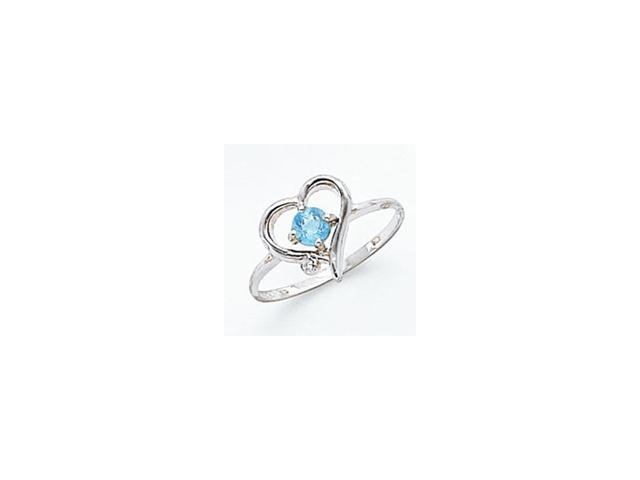 14k White Gold 4mm Blue Topaz AA Diamond ring Diamond quality AA (I1 clarity, G-I color)