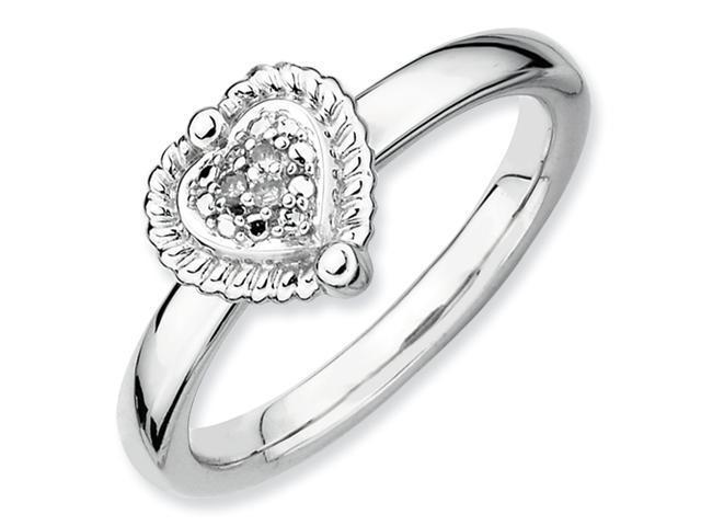 Sterling Silver Stackable Expressions Heart Diamond Ring